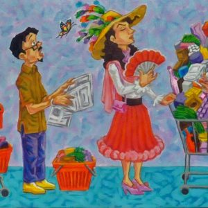 Code: 21826 Title: Pila sa Grocery Size: 15 x 84 in Medium: Acrylic on Canvas