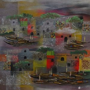 Code: ASN 045 Title: Singapore River Size: 24x24in Medium: Mixed Media