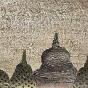Code: ASN 061 Title: Buddhist Mysterious Stupas Size: 12x16in Medium: Acrylic on Canvas