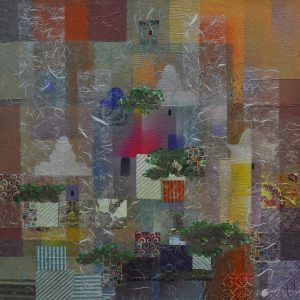 Code: ASN 049 Title: Buildings, Shelters and Trees of Singapore Size: 24x24in Medium: Mixed Media