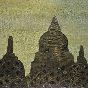 Code: ASN 052 Title: Timeless Buddhist Stupas Size: 12x16in Medium: Acrylic on Canvas