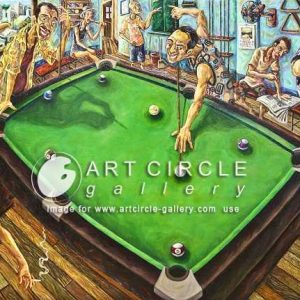 Code: 13263 Title:  Nine Ball Medium: Oil on Canvas Dimension: 36x48 inches