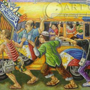 Code: 14394 Title:  Jeepney Medium: Oil on Canvas Dimension: 28x52 inches