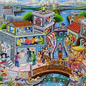 Code: CW 18734 Title: Happy Town Size: 36x72in Medium: Oil on Canvas