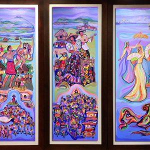 Code:  Title: Luzviminda Medium: Acrylic on canvas Dimension:Triptych