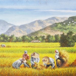 Code: 18306 Title: Rice Harvest Medium: Oil on Canvas Dimension: 24x48in