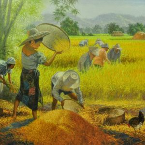 Code: 18824 Title: Winnowing Rice Medium: Oil on Canvas Dimension: 30x48in