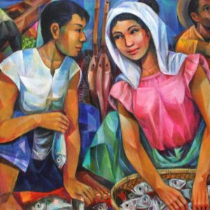 Code: 18844 Title: Fish Vendor Couple Medium: Oil on Canvas Dimension: 30x48 inches