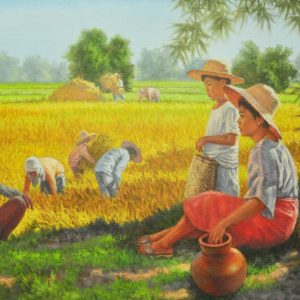 Code: 18932 Title: Rice Harvest Medium: Oil on Canvas Dimension: 30in x 48in