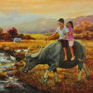 Code: 18968 Title: Carabao Ride Medium: Oil on canvas Dimension:   24in x 18in