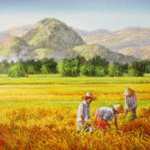 Code: 19238 Title: Rice Harvest Series Medium: Oil on canvas Dimension: 18in x 24in
