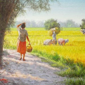 Code: 19239 Title: Rice Field Medium: Oil on Canvas Dimension: 18x24in