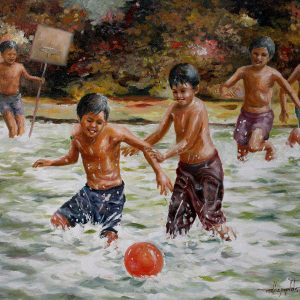 Code: 19241 Title: Basketball Medium: Oil on canvas Dimension: 24in x  18in