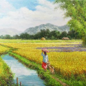 Code: 19297 Title: Rice Harvest Medium: Oil on canvas Dimension: 18in x 24in