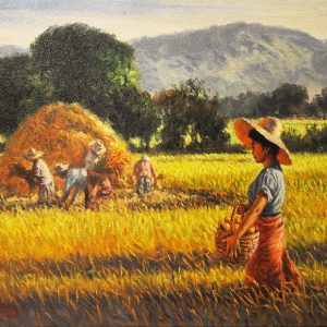 Code: 19612 Title: Rice Harvest Medium: Oil on Canvas Dimension: 15x24in