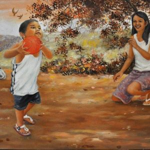 Code:18287 Title: Shoot the Ball Size:16in x 26in  Medium: Oil on Canvas