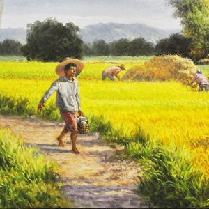 Code: 19709 Title: Rice Harvest Size: 16x35in Medium: Oil on Canvas