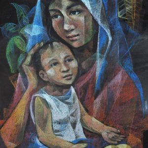 Code: 19904 Title: Mother and Child Size: 28.5x22.5in Medium: Pastel on Peper