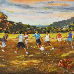 Code: 19975 Title: Playing Football Size: 22x26 in Medium: Oil on Canvas