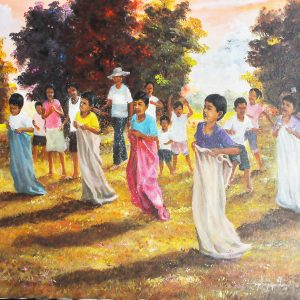 Code: 20055 Title: Sack Race 2 Size: 22x26in Medium: Oil on Canvas