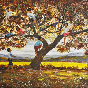 Code: 20092 Title: Kids on Tree Red Bell Size: 22x26in Medium: OC