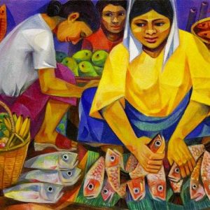 Code: 9361 Title: Fish Vendor Medium: Oil on Canvas Dimension: 18x24 inches