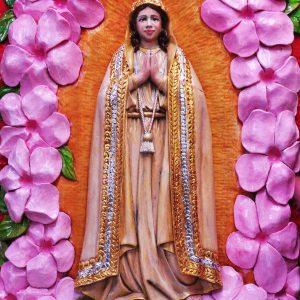 Code: RA 065 Title: Our Lady of Fatima Medium: Batikuling Wood Dimension: 26.5in x 16in