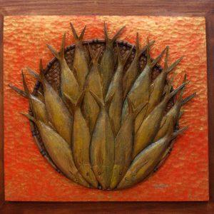 Code: RA 040 Title: Tinapang Bangus Medium: Batikuling Wood Dimension: 21in x 24in