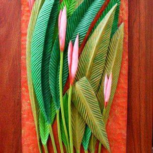 Code: RA 063 Title: Birds of Paradise Medium: Batikuling Wood Dimension: 23.5in x 10.5in