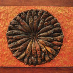 Code: RA 078 Title: Tinapang Isda sa Bilao Medium: Batikuling Wood Dimension: 19in x 24in