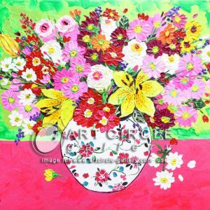 Code: 15034 Title: A Jar of Flowers Medium: Acrylic on Canvas Dimension: 16in x 20in