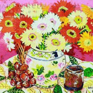 Code: 8587 Title: A Jar of Flowers Medium: Acrylic on Canvas Dimension: 16in x 20in