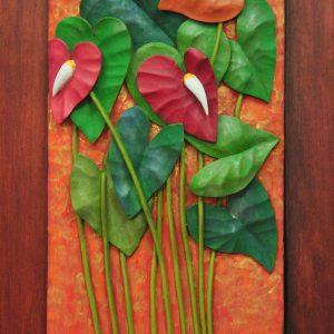 Code: RA 080 Title: Anthurium Medium: Batikuling Wood Dimension: 17in x 11in