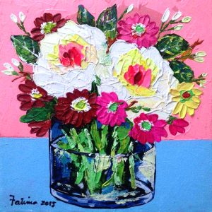 Code: 16939 Title: A Jar of Flowers Medium: Acrylic on Canvas Dimension: 8in x 8in