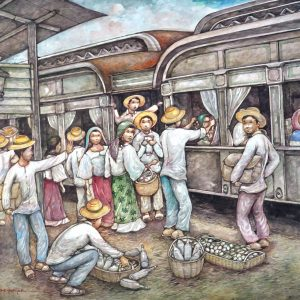 Code: 11972 Title: All Aboard For Manila (Dagupan Railway Station) Size: 30 x 24 in Medium: Acrylic on Canvas