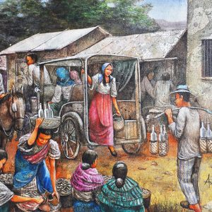 Code: 14648 Title: Market Scenery Medium: Oil on canvas Dimension: 48in x 24in