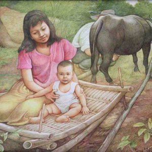 Code: 17834 Title: Mother and Child Medium: Oil on canvas Dimension: 18x24in
