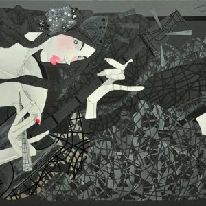 Code: 18807 Title: Kabuki (Kow-Tow) Size: 24 inches x 48 inches Medium: Acrylic on Canvas