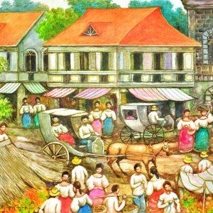 Code: 18954 Title: Market Scene Medium: Acrylic on canvas Dimension: 18in x 24in