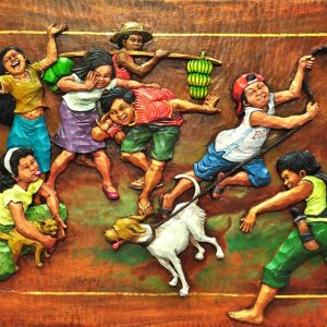 Code: 18965 Title: Aso't Pusa Medium: Wood Relief Dimension: 24in x 36in