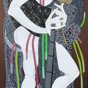 Code: 19250 Title: Kow Tow Player Size: 48 inches x 24 inches Medium: Acrylic on Canvas