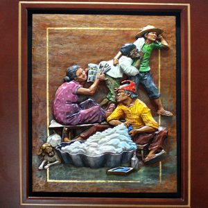 Code: 19268 Title: Maglalaba ka o maglalaba ka? Medium: Wood Relief Dimension: 18x24in