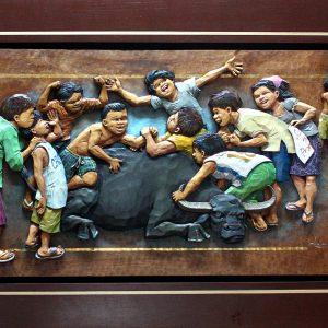 Code: 19269 Title: Bunong Braso Medium: Wood Relief Dimension: 18x36in