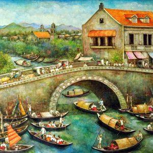 Code: 19325 Title: Bridge Scene Medium: Acrylic on canvas Dimension: 48in x 96in