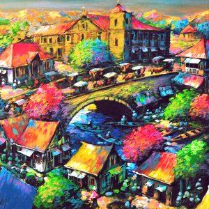 Code: 19326 Title: Bridge Scenery Medium: Acrylic on canvas Dimension: 48in x 96in