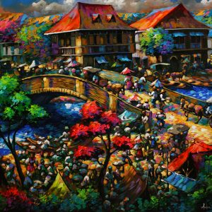 Code: 19638 Title: Bridge Scene Size: 48x60in Medium: Acrylic on Canvas