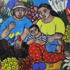 Code: 20035 Title: Flower Vendor (Family) Size: 16x12in Medium: Oil on Canvas