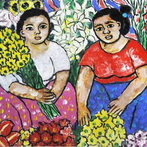 Code: 20037 Title: Flower Vendors Size: 16x12in Medium: Oil on Canvas