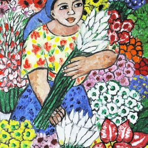 Code: 20042 Title: Flower Vendor Size: 16x12in Medium: Oil on Canvas