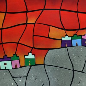 Code: 20670 Title: Mountain Houses Size: 24x48in. Medium: Acrylic on Wood